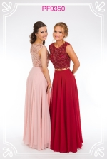 Blush and berry prom gowns