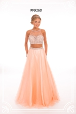 peach wedding gown