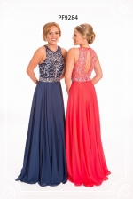 navy and strawberry prom frocks