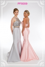 Red and navy blue prom gowns