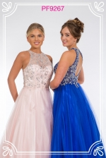 pink and blue prom dress