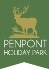 The Penpont Holiday Park logo showing a golden stag in forest on a green background
